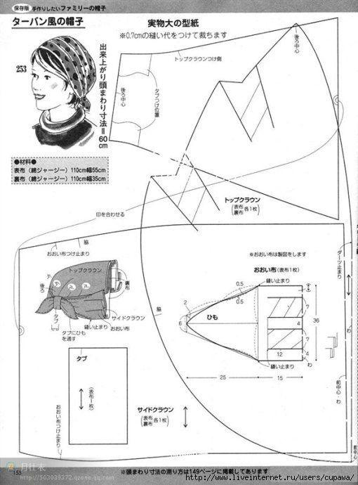 Выкройки головных уборов на платок