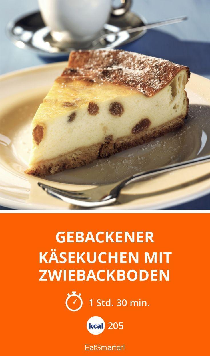 Gebackener Kasekuchen Mit Zwiebackboden Rezept Zwieback Backen Fettarme Desserts