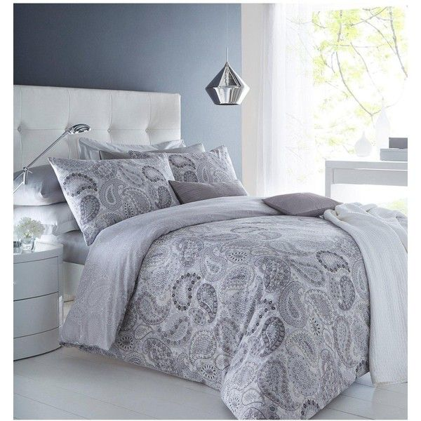 paisley grey duvet cover pillowcase set reversible bedding single double king in home furniture u0026 diy bedding bed linens u0026 sets