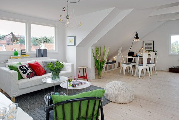 Small Attic apartment - white living room