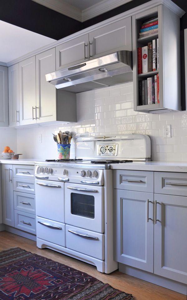 Kitchen Renovation, gray cabinets, hardwood floors, subway tile
