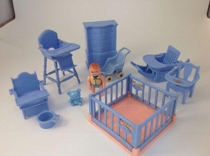 Vintage Ideal + Reliable Baby Nursery Converting High Chair Rocker  Dollhouse Set   EBay