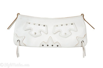 DIESEL SPARE PARTS White Leather Clutch