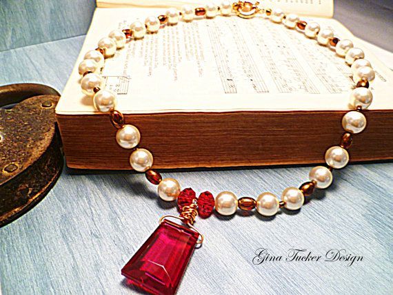 Check out Bridal Pearl Necklace, Statement Necklace Pearl Red Crystal Pendant,  Necklace Wedding Copper wire wrap Vintage Fantasy Bridal on ginatuckerdesigns