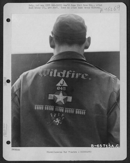 "Bomber Jacket ""Wildfire"" from the 351st BG based at Polebroke, England. Actor Clark Gable flew 5 missions with this group as an observer/gunner in 1943."
