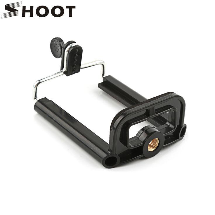 Shoot negro sostenedor del trípode para el teléfono teléfono trípode con 1/4 pulgada de tuerca tornillo agujero teléfono selfie stick accesorios de la pinza