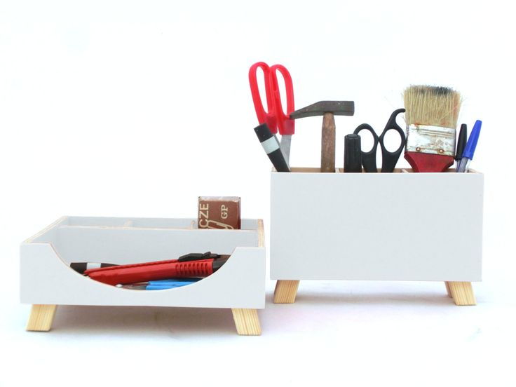 White Desk Organizer, Box Set, Wooden Set, Desktop Set, Office Accessories,