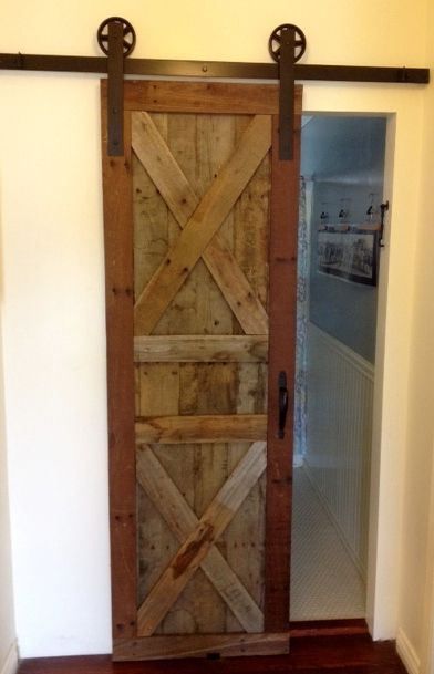 This is my sliding barn door made from pallet wood.