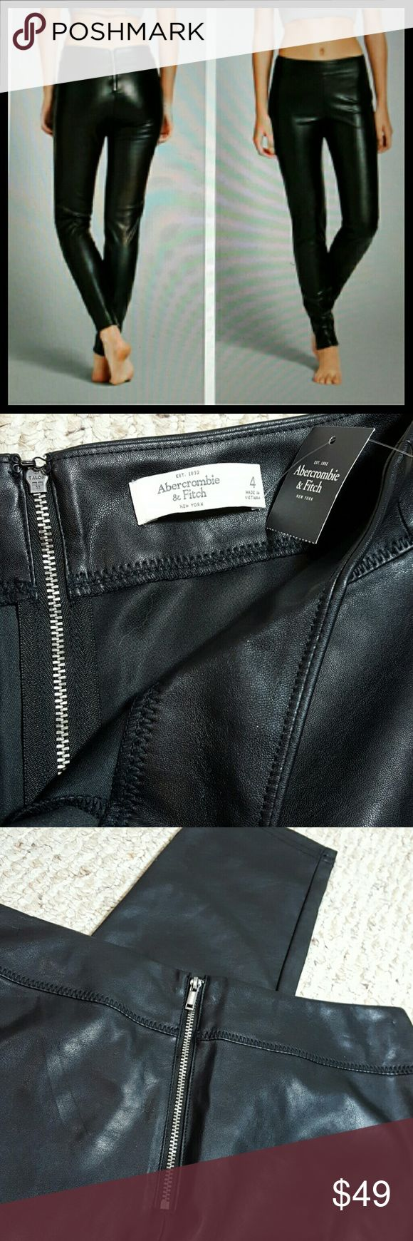 "New Abercrombie and Fitch Faux Leather Pants New with tags  Faux leather pants/leggings,  with back zip n hook closure. 100% Polyester  Approximately  29.5"" inseam  10"" Rise  13.5"" waist  5"" leg opening  ??No trades Please ??NO modeling  Due to frequent low ball offers, I will be blocking those who do. My apologies. Abercrombie & Fitch Pants"