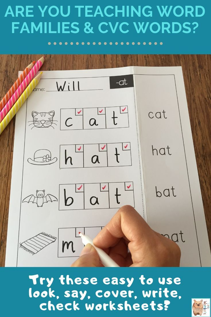 Cvc Look Say Cover Write Check Worksheets Word Families Cvc Word Families Cvc Words [ 1102 x 735 Pixel ]