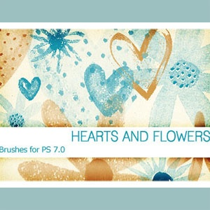 hearts and flowers brushes