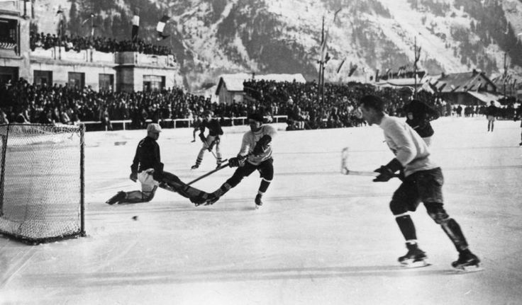 (1924; Chamonix, France) The Canadian ice hockey team, the Toronto Granites, scores during the final in which they beat the United States 6-1 to take the Olympic gold medal in the Winter Games.