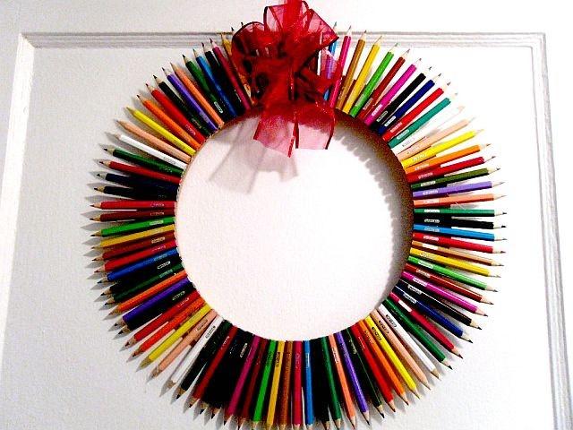 Draw Me Cheery Pencil Door Wreath Colorful by MajesticSilkFlowers, $25.00