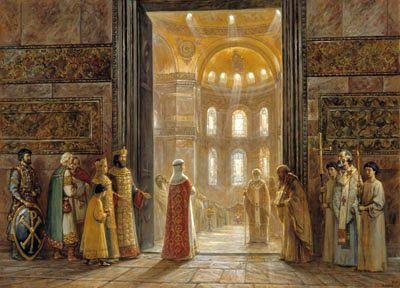 Igor Mashkov-Holy Equal-to-the-Apostles Princess St Olga Enters the Church of Holy Wisdom in Constantinople