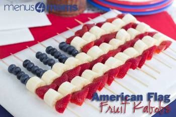 AMERICAN FLAG FRUIT KEBABS: Another fun addition to your 4th of July dinner. Make these fruit kebabs with your kids as it is easy and a fun project to watch your flag come together.
