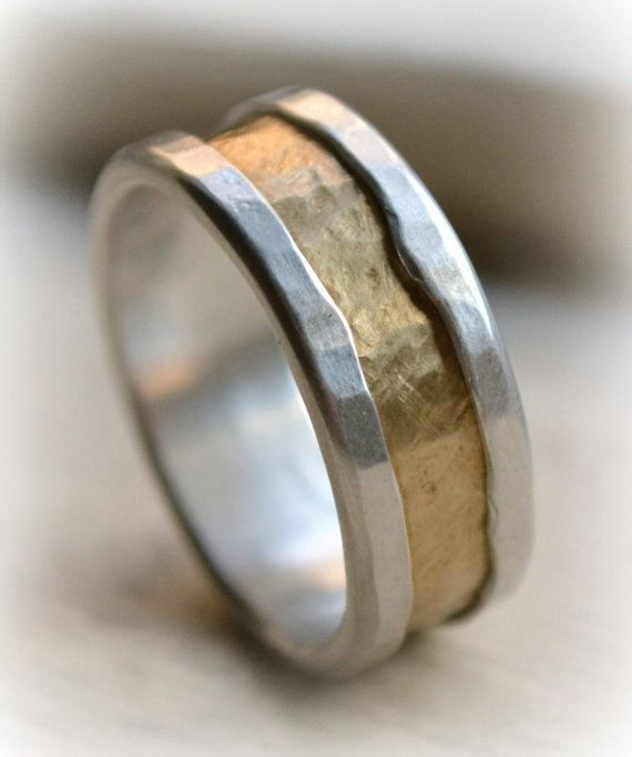 mens rustic fine silver and brass ring handmade hammered artisan designed wedding or engagement band customized custom hand stamping