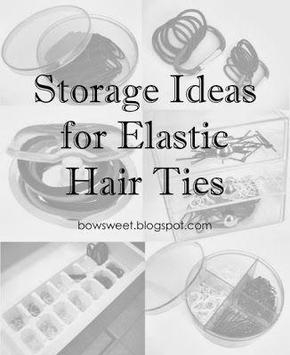 lots of storage ideas for elastic hair ties