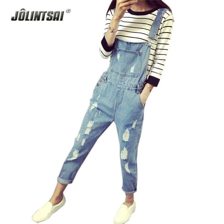 Korean Style Summer Denim Jumpsuits 2017 Fashion Women's Overalls Female Hole Denim Strap Trousers Preppy Style Loose Slim S-ML