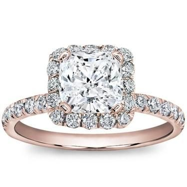 "Rose gold is soft and subtle variation on the typical engagement ring. ""Like"" our Pave Engagement setting in rose gold!"