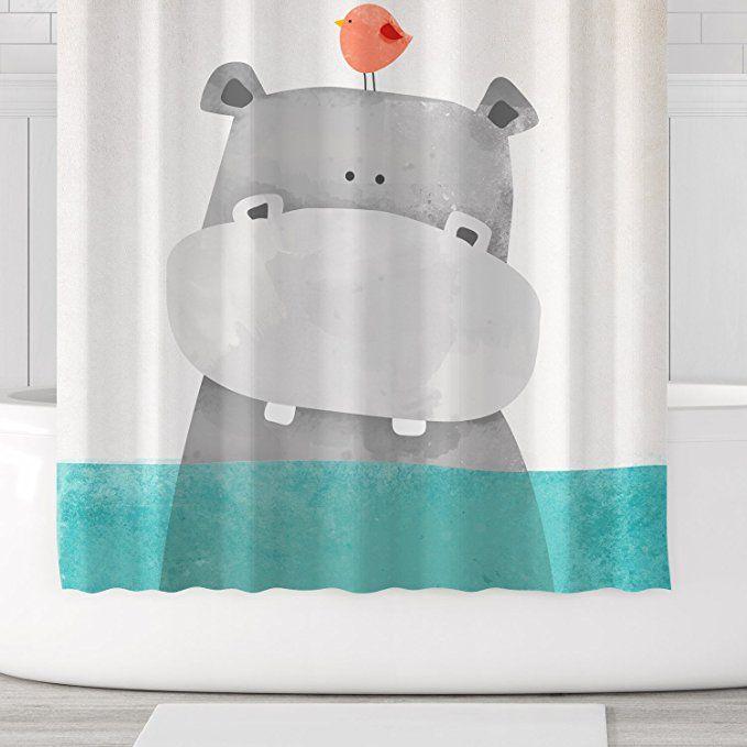 Orange Design Cute Hippo Shower Curtain Animal Baby River Horse