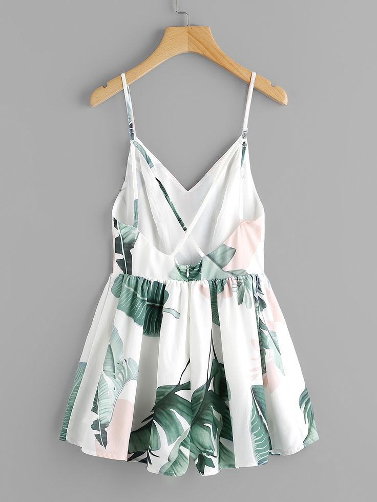 Shop Jungle Leaf Print Crisscross Back Princess Seam Playsuit online. SheIn offers Jungle Leaf Print Crisscross Back Princess Seam Playsuit & more to fit your fashionable needs.
