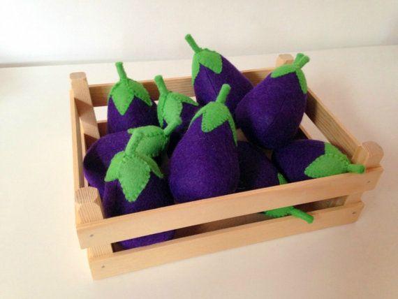 Pretend Play Felt Food Vegetable Egg Plant by mummymadeitme