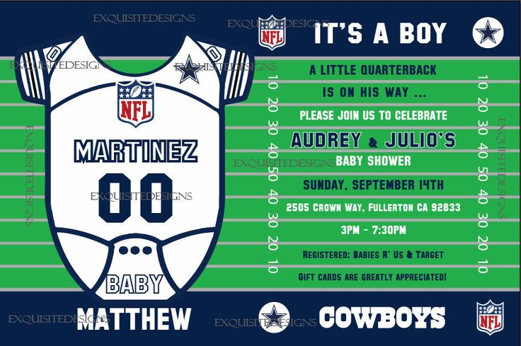 Dallas Cowboys Baby Shower Invitation by uniqueinvite on Etsy https://www.etsy.com/listing/203618846/dallas-cowboys-baby-shower-invitation