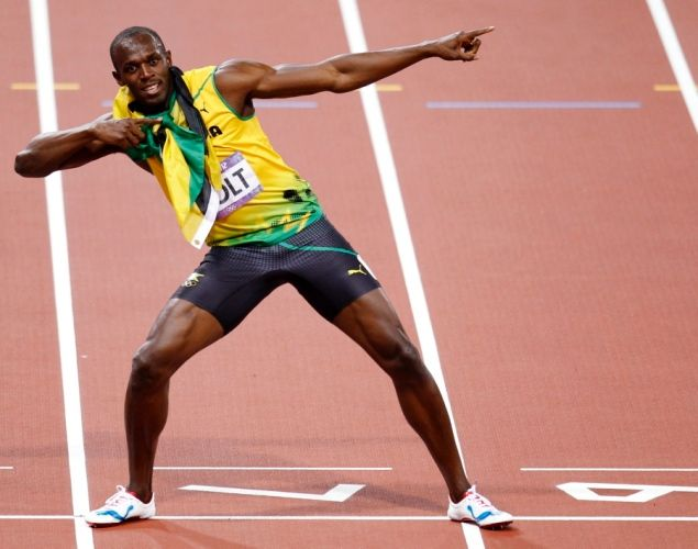 The world's fastest man Usain Bolt celebrates his stunning win after finishing the 200-meter final in a blistering 19.32 seconds on Aug. 9, 2012