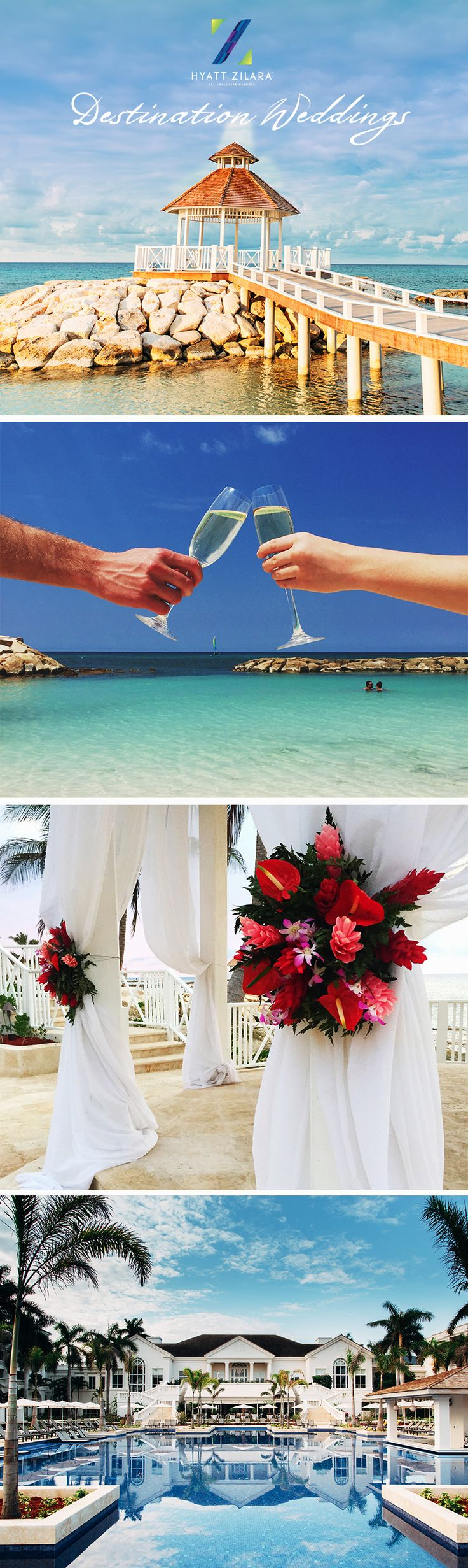 Planning a beach wedding? Our all inclusive resort in Montego Bay, Jamaica has the perfect atmosphere to make your walk down the aisle a memorable one! From the beach front gazebo to the intimate sky lounge, your dream destination wedding becomes a reality with #HyattAllIn. | Hyatt Zilara Rose Hall