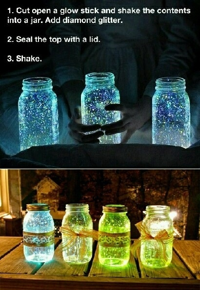 Cut open a glow stick and shake the contents into a mason jar. Add diamond glitter. Decorate the jar, and BAM! You have a beautiful center piece for an outside table in the summer time!