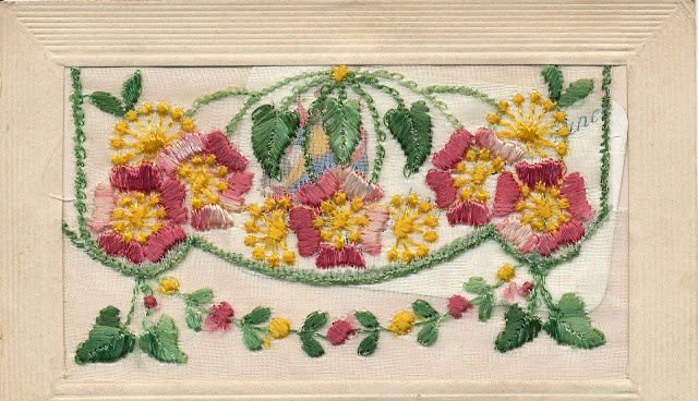 Embroidered postcard from WW1.  These embroidered cards are really beautiful.