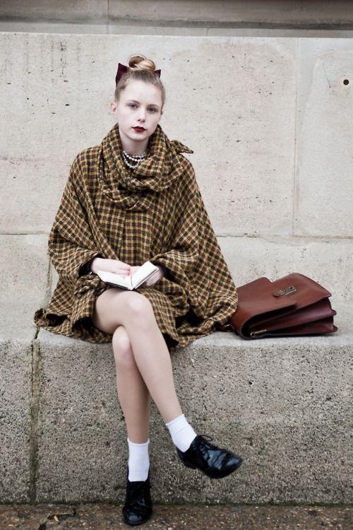 : Shoes, Paris Fashion Week, Schools Girls, Street Style, Fashion Blog, Bows, Coats, Lace Socks Vintage, Plaid Capes