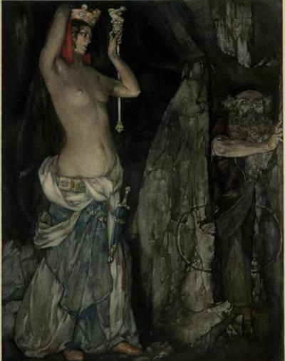 "William Russell Flint illustration for Le morte Darthur; the book of King Arthur and of his noble knights of the Round table ""So by her subtle working she made Merlin to go under that stone"""