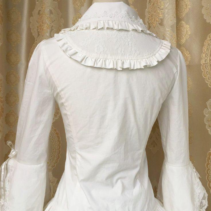 Spring/summer 2017 New Lolita Silk Cotton White Blouse Women's Lace Long Flare Sleeve Lolita Shirt Free Shipping