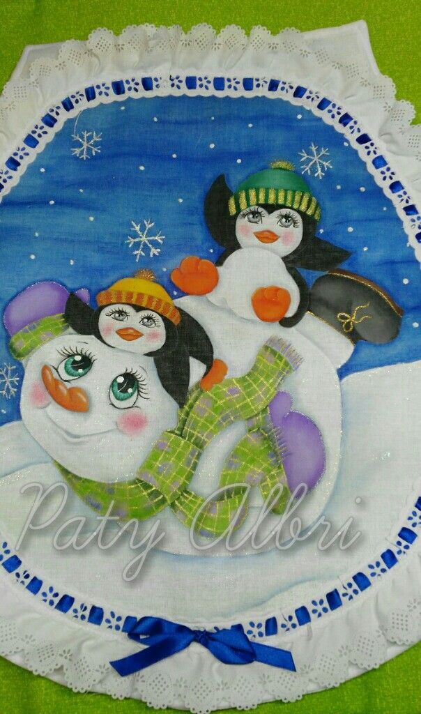 Muñeco de nieve con pingüinos pintura textil elaborado por Paty Albri