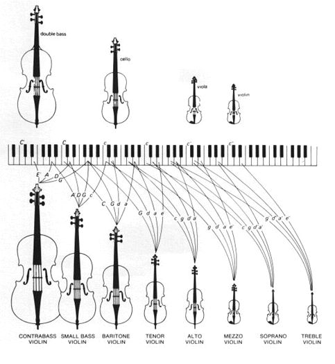 Stringed instruments & their relationships to the piano keyboard.
