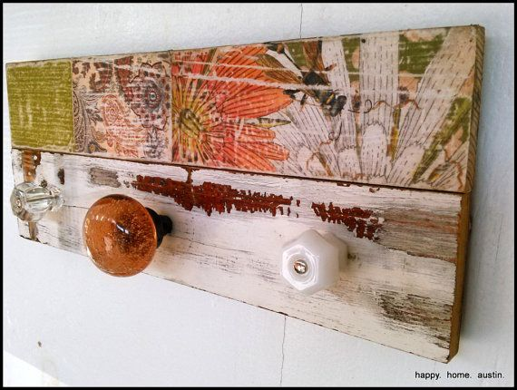 Reclaimed Wood and Glass Knobs Coat Rack, Entryway Storage, Jewelry Rack,  Towel Rack - 80 Best Images About Happy. Home. Austin On Pinterest Vintage