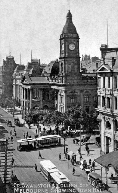Vintage Melbourne Australia. Edwardian postcard showing cnr Swanston and Collins Sts. featuring the Town Hall.