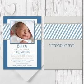baby boy photo birth announcement navy or aqua personalised, printed both sides peach perfect australia