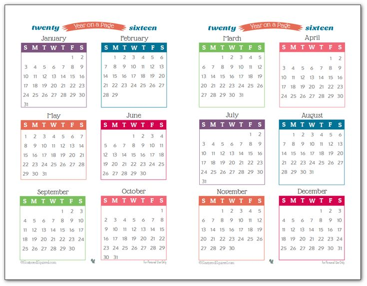 2016 Year on Page Printable Calendars are Here! | Printable ...: buzzeu.com/image/916-2016-calendar-diy