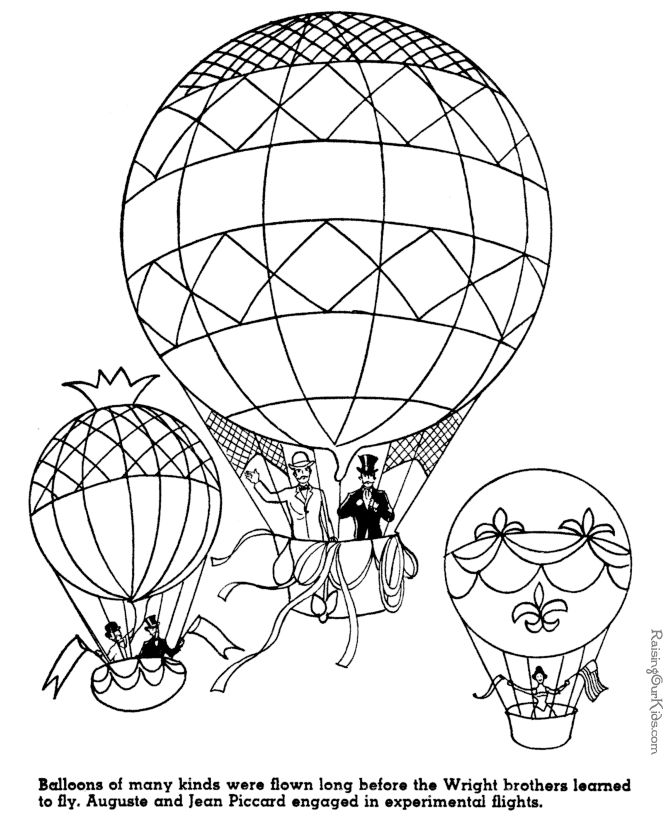 Balloon Flights - American history coloring pages for kid 079