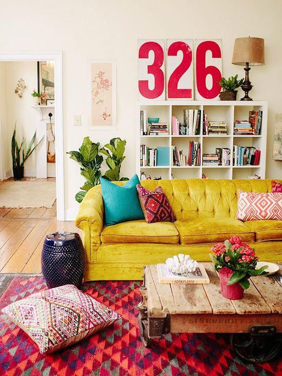 Colorful Living Room Glamour Elegant Eclectic Interior Pantone