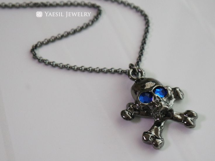 Black Skull with Sapphire Eyes Necklace, Gun Metal Finished Pirate Skull Charm Necklace, Gift for Him by YaesilJewelry on Etsy