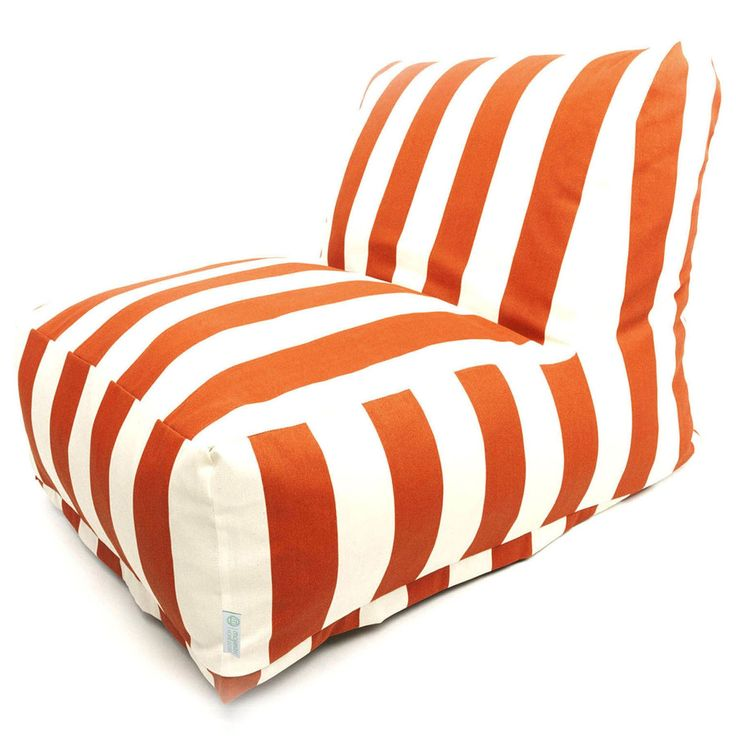 Majestic Home Goods Indoor/Outdoor Vertical Stripe Bean Bag Chair Lounger (Burnt Orange), Size Single, Patio Furniture (Fabric)