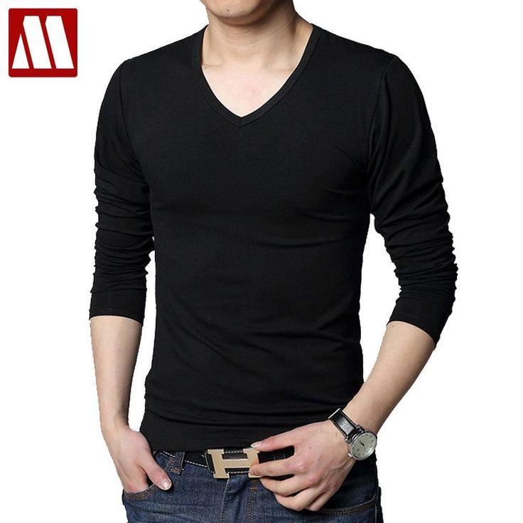 Autumn t-shirts body building T-shirt cotton V collar basic t shirt men T-shirt Casual T-shirts Men\s Fashion t shirt