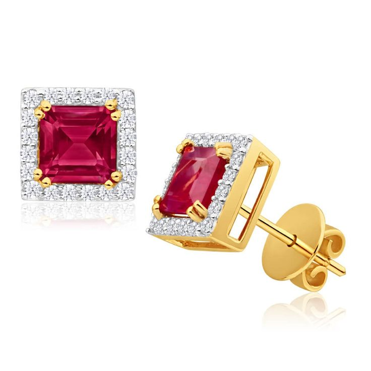 Cute as a button 18ct Gold Natural Ruby and Diamond Stud Earrings. Great way to add a splash of colour to your accessories