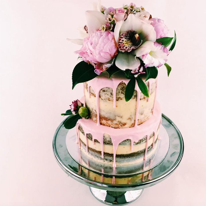 Dripped pink icing on semi naked cake with pretty orchid and peony fresh flower topper ~ we ❤ this! moncheribridals.com