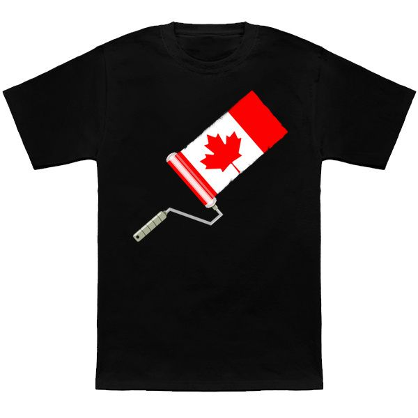 funny Canadian Flag being painted by a roller t-shirt