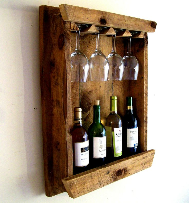 Wine Bottle Rack / Wine Rack / Wine Glass Holder / Wine Glass Rack Rustic Reclaimed Barn Wood. $89.00, via Etsy.