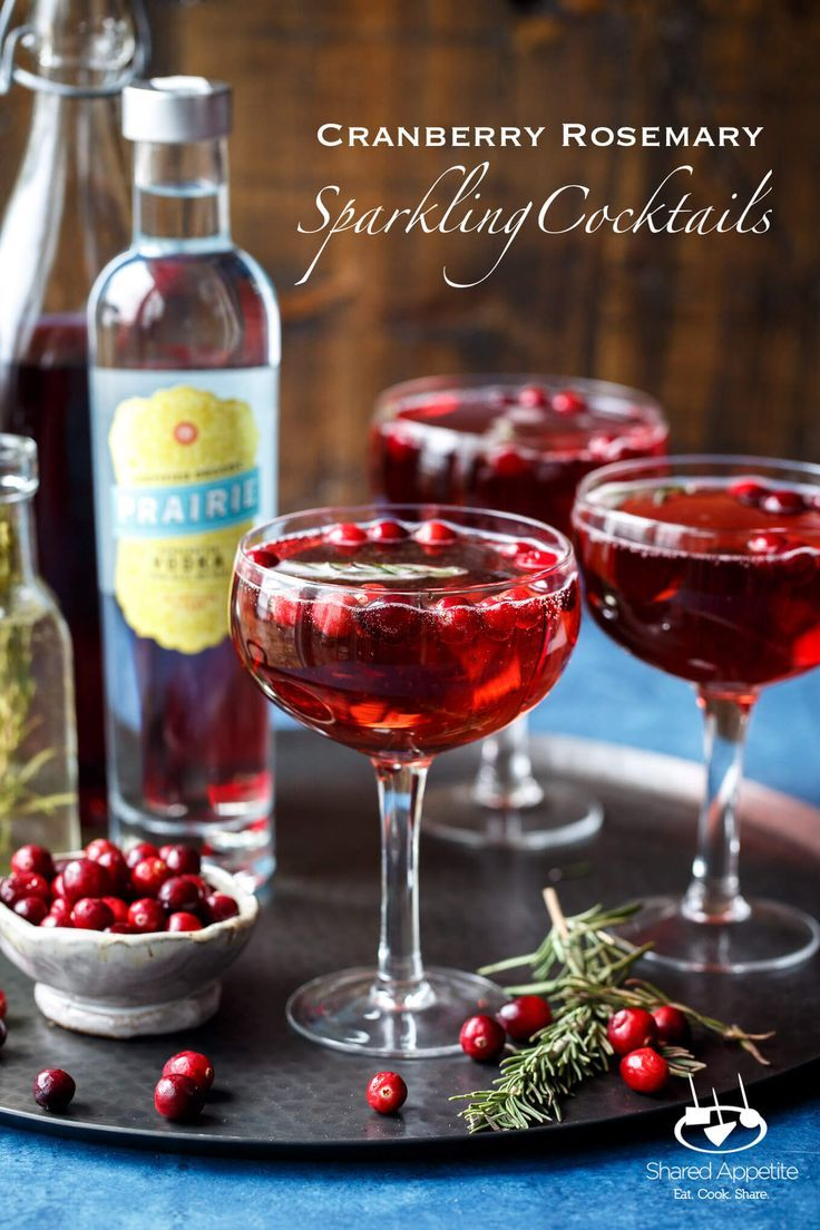 Sparkling Cranberry Rosemary Cocktails Shared Appetite Recipe Rosemary Cocktail Easy Holiday Drinks Cranberry